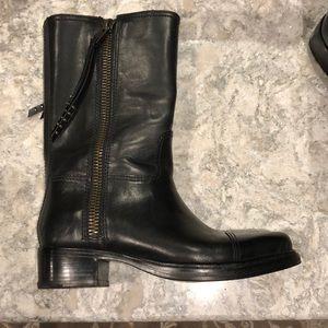 0845e22695e Coach Short Double Zip Western Boot Black